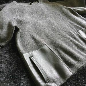 J. Crew Merino Wool/Leather Sweater - Short Sleeve